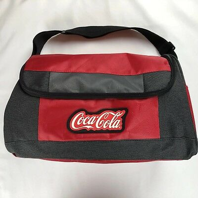 Coca Cola Duffel Tote Bag Shoulder Strap Red Gray Black