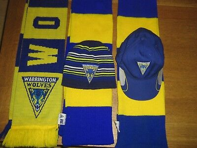 Warrington Wolves Rugby League Shirts x2 + 2 hats and 3 scarfs.