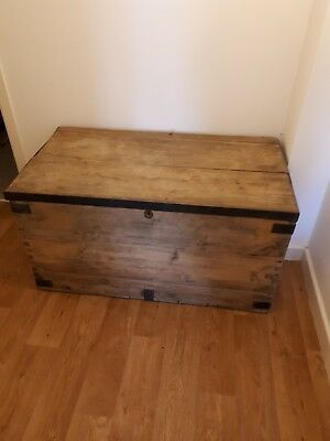 Antique Pine Military Campaign Trunk/chest/trunk/blanket Box/table
