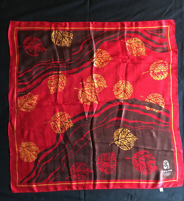 Beijing China 2008 Silk Scarf OLYMPIC GAMES red Leaves in Water Logo