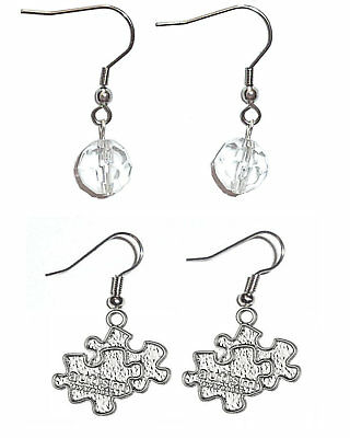 Autisms Hidden Gifts >> 2 Sets Charm Earrings By Hidden Hollow Beads In A White Gift Box Autism