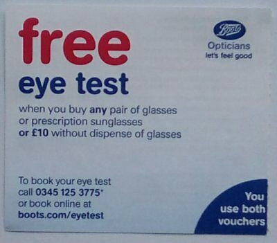 26216016a4b EYE TEST BOOTS Discount Voucher - Valid Until 28 02 19 - £3.95 ...