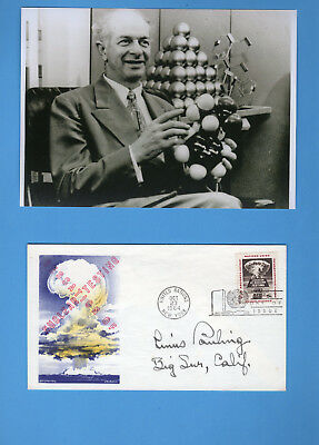 Linus Pauling (1962 Nobel Peace  1954 Chemistry Prize) Signed UN First Day Cover
