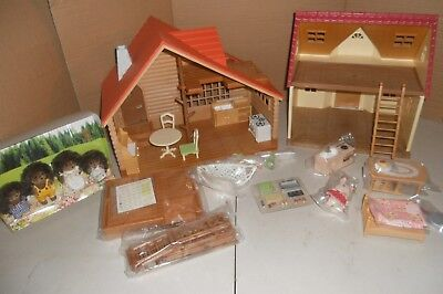 Sylvanian Families,  Log Cabin & Cosy Cottage, No Boxes.+ Figures & Furniture.