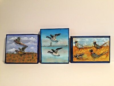 3 Vintage Pheasant & Geese Hand Carved Wall Plaques (Late) W. Weidemann Paoli PA