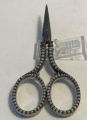 Antique  Sterling Silver Sewing Daniel Low & Co.  Beaded Handles Scissors  #375
