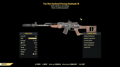 Fallout 76 PC lvl 45 Two-Shot Explosive Handmade rifle. Best weapon in the game
