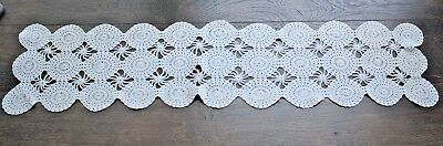 "Vintage Cotton Crochet Lace Table Runner Dresser Scarf 35"" L x 8"" W Rectangle"