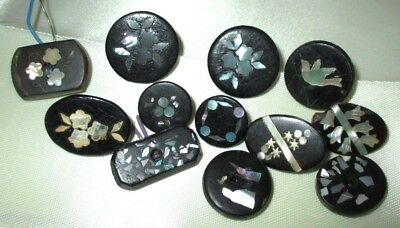 Lot 12 Antique Victorian Mop Mother Pearl Shell Inlay Buttons - Bird Flowers +