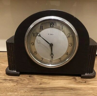Vintage Smiths Sec 8 Day Mantle Clock Working Perfect For A Small Space Lovely