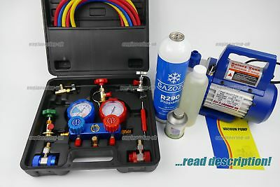 Car Automotive AC Aircon R134a R290 charging gauges set kit canister can gas