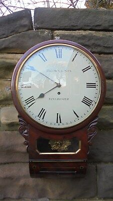 Regency Mahogany Convex Drop Dial Wall Clock Brown