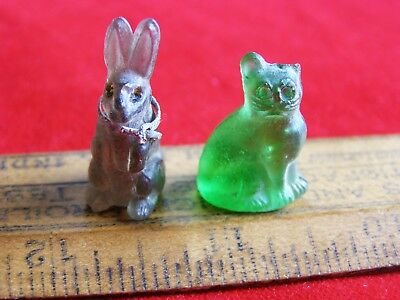 Antique Czech Purple Glass Rabbit Cracker Jack Prize & Green Glass Cat Charm lot