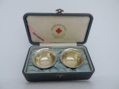 1928 Signed Japanese Red Cross Olid Sterling Silver Sake Tea Cups 37 Grams