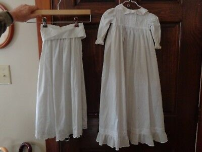 Antique VTG Baptismal Gown Underskirt Petticoat-Slip-Hand Made Embroidered Lace