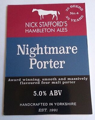 HAMBLETON brewery NIGHTMARE PORTER cask ale beer badge pump clip front Yorkshire