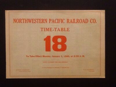 Northwestern Pacific Railroad Company Employee Time-table 18 + Map Jan 1 1940