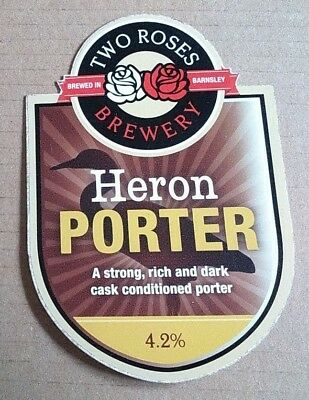 2 ROSES brewery HERON PORTER cask ale beer badge pump clip front Yorkshire two