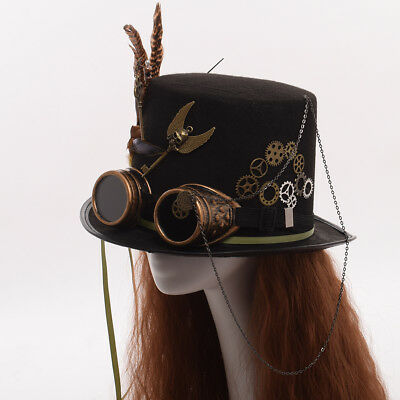 Steam Punk Gothic Vintage Hat Gear Feather Glasses Top Hat Party Fedora Unisex