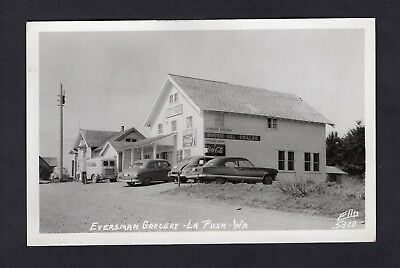 1940s Eversman Grocery Store La Push Wash RPPC Cars/Coca Cola Sign/Union Oil Gas