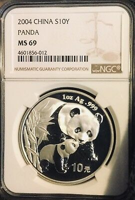2004 Ngc China Silver Panda Coin Strong Ms69 S10Y 70+ No Reserve Pandas