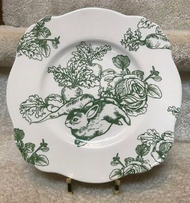 """Bunny Toile Green Luncheon Salad Plate by J. Willfred   9 3/8""""NEW"""