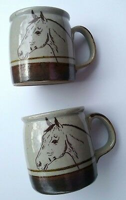Pottery Equestrian Horse Mug  Stoneware Coffee Cup (Set Of 2)