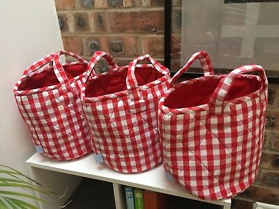 JoJo Maman Bebe Red and white Gingham children's storage bags X3 Ex Condition