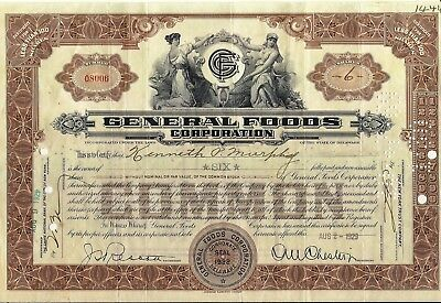Stock certificate General Foods Corporation dated 1929-1932 brown