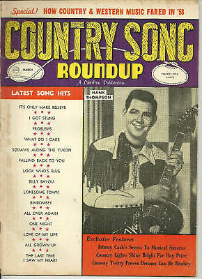 Country Song Roundup Magazine March 1959  #59 Hank Thompson Johnny Cash