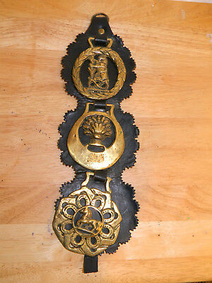 Woodleigh Leather Horse Brass medallions Made in England Vintage