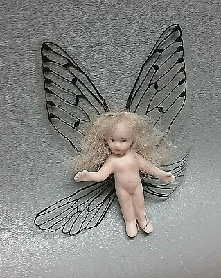"""Vintage MINI bisque tiny Fairy Garden doll 2"""" tall w Butterfly wings"""