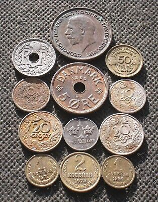Lot Twelve Old Coins Of Europe (Sweden-Poland-France-Russia-England) - Mix 074
