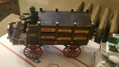 Vintage Cast Iron Pepsi Cola Delivery Truck Wagon with Crates