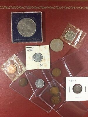 Collection of several coins - silver Mexico, steel pennies, and others