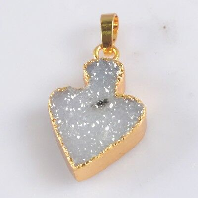 Natural Agate Druzy Geode Pendant Bead Gold Plated T073160