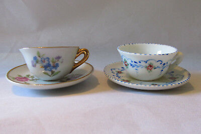 Vintage Limoges France Bone China Miniature Cup and Saucer Sets - Very Small
