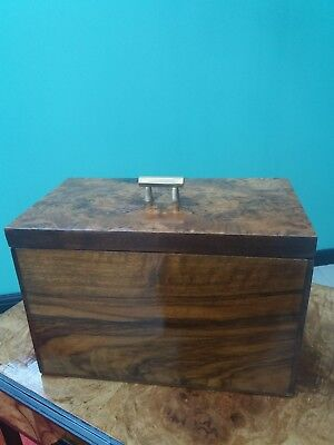 Art Deco 1930s Large Figured Walnut Jewellery/ Storage Box