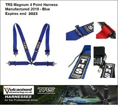 TRS Magnum 4 Point 75mm Harness Blue FIA Approved (Saloon) HANS Friendly Exp2023