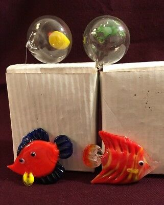 Hand Blown Art Glass-2-Fish Ornaments With Air Water Bubble For Hanging In Tank