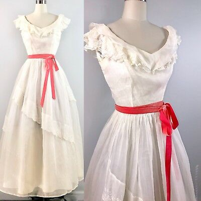 40s Wedding Dress Vintage 1940s White Organza Embroidered Lace Belle Gown 36 bus
