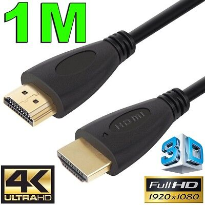 1m GOLD HDMI Cable v2.0 Ultra HD 4K 2160p 1080p 3D High Speed Ethernet ARC HEC