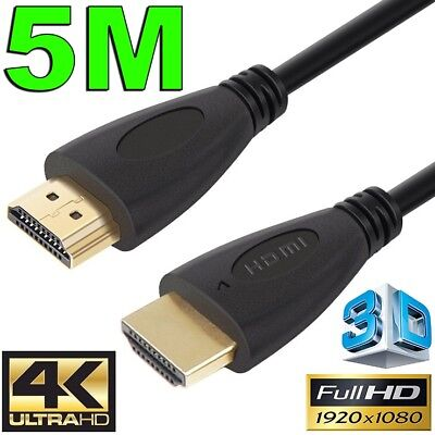 5m GOLD HDMI Cable v2.0 Ultra HD 4K 2160p 1080p 3D High Speed Ethernet ARC HEC