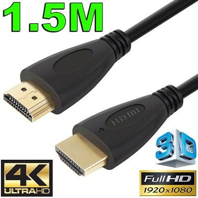 1.5m GOLD HDMI Cable v2.0 Ultra HD 4K 2160p 1080p 3D High Speed Ethernet ARC HEC