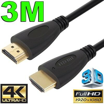 3m GOLD HDMI Cable v2.0 Ultra HD 4K 2160p 1080p 3D High Speed Ethernet ARC HEC
