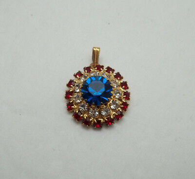 Vintage Red White Blue Medallion Pendant Prong Set Rhinestone Patriotic Crystal