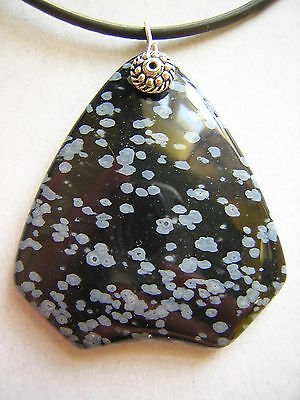 Very Large Snowflake Obsidian Pendant Thong Necklace - Change