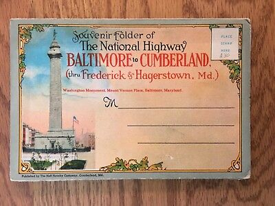 Postcard Folder The National Highway Baltimore to Cumberland Maryland