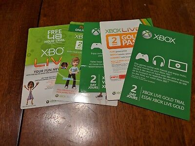 XBOX LIVE GOLD Membership Card 2 day / 48 HR XBOX ONE / XBOX 360 - Lot of 5