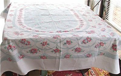 "VTG COTTON TABLECLOTH PINK CABBAGE ROSES SEAFOAM GREEN GARLAND 49"" x 63"""